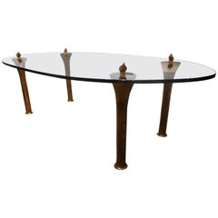 Bronze and Glass Coffee Table by Garouste & Bonetti, France, 1990