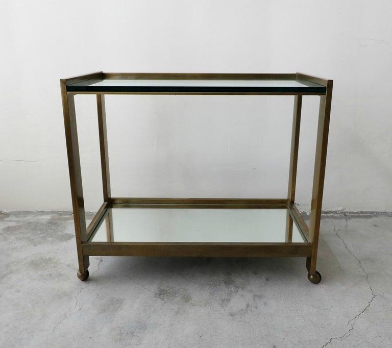 Mid-Century Modern Bronze and Glass Midcentury Italian Bar Cart