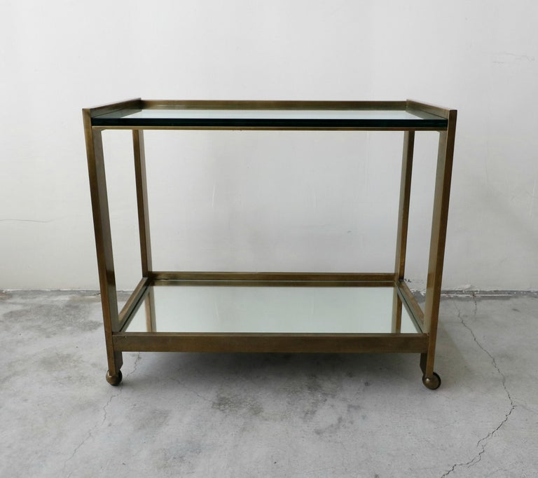 Mid-Century Modern Bronze and Glass Midcentury Italian Bar Cart