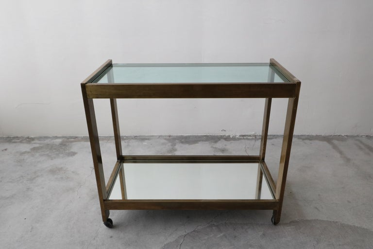 Bronze and Glass Midcentury Italian Bar Cart In Excellent Condition In Las Vegas, NV