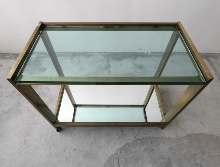 20th Century Bronze and Glass Midcentury Italian Bar Cart