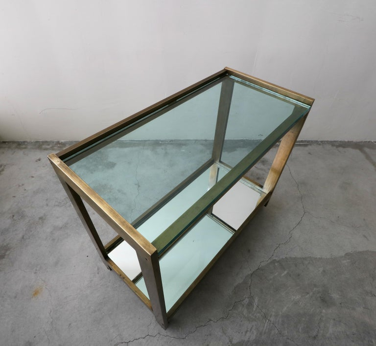 Bronze and Glass Midcentury Italian Bar Cart 1