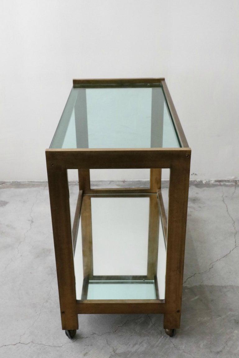 Bronze and Glass Midcentury Italian Bar Cart 2