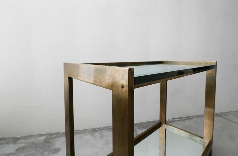 Bronze and Glass Midcentury Italian Bar Cart 3