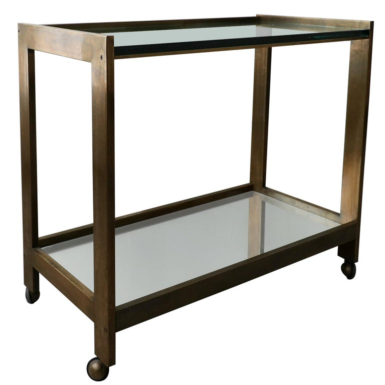 Bronze and Glass Midcentury Italian Bar Cart