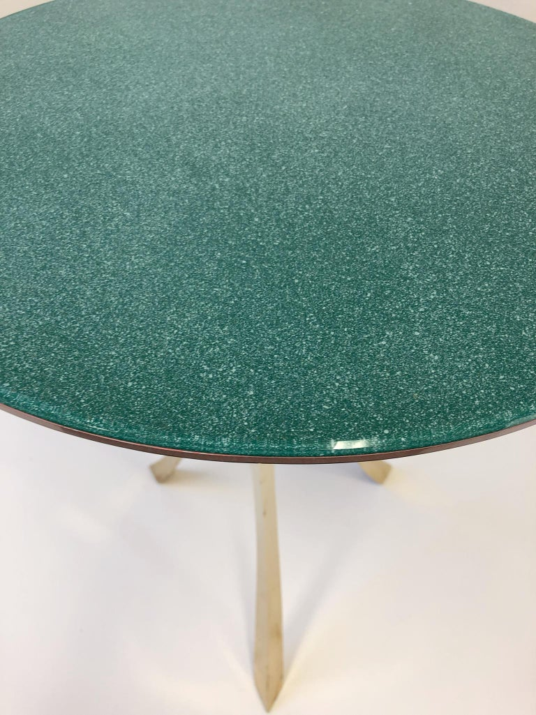 Bronze and Glass Tri-Pod Occasional Table 10