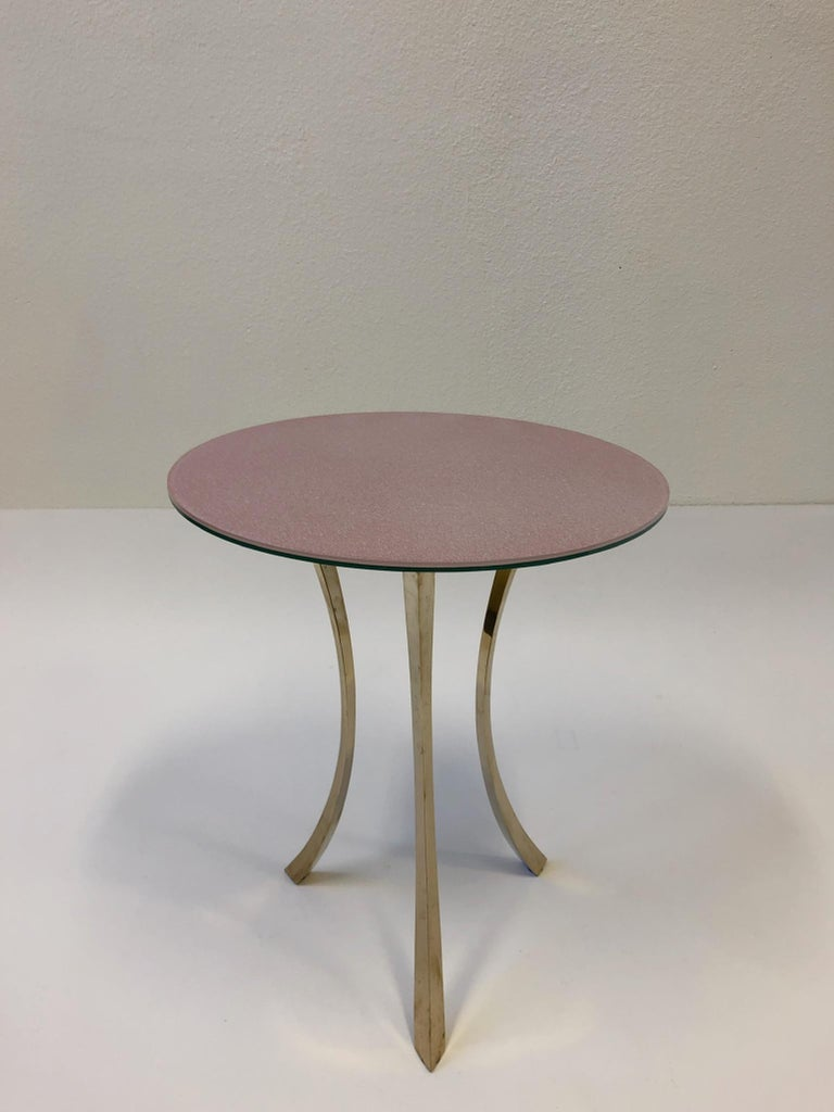 Bronze and Glass Tri-Pod Occasional Table 12