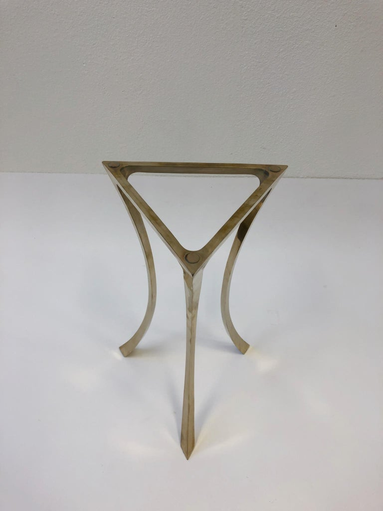 Bronze and Glass Tri-Pod Occasional Table 3