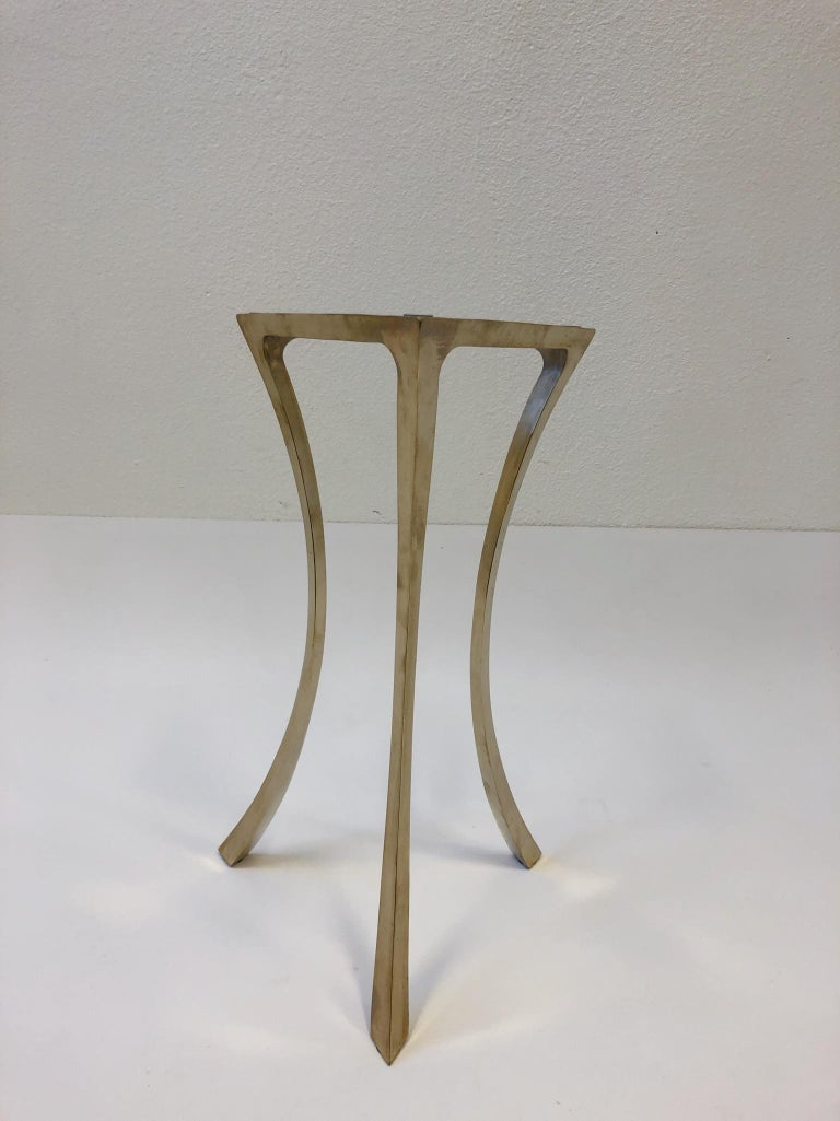 Bronze and Glass Tri-Pod Occasional Table 4