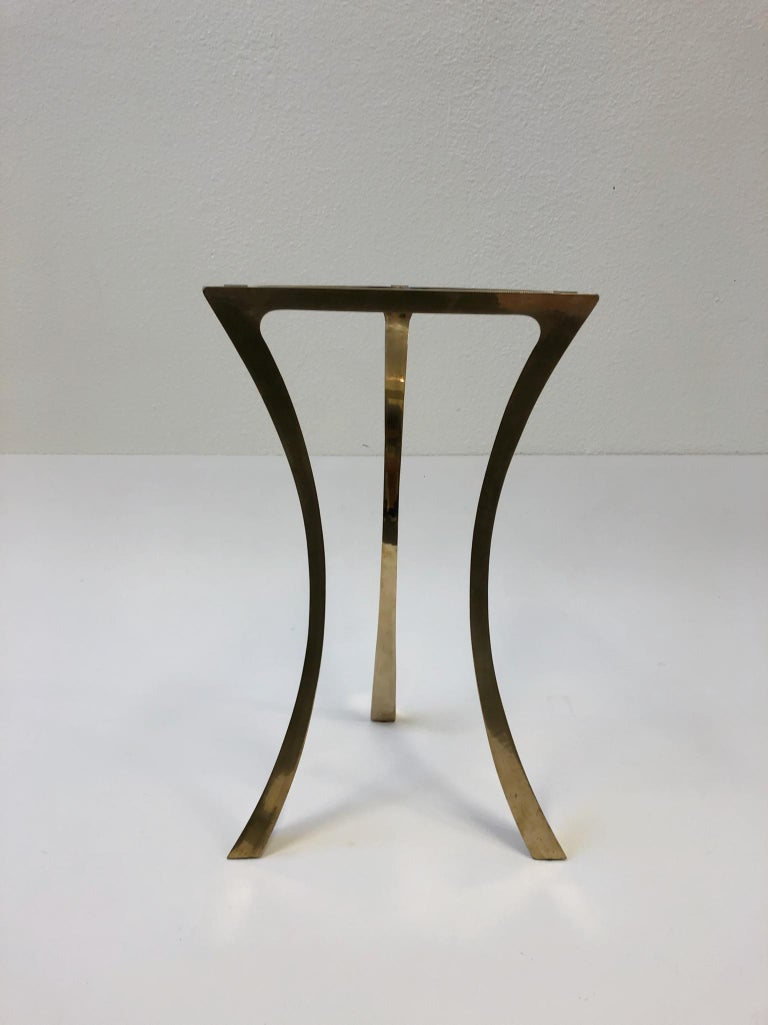 Bronze and Glass Tri-Pod Occasional Table 5