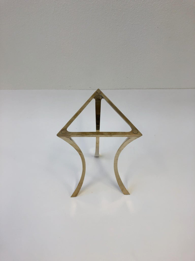 Bronze and Glass Tri-Pod Occasional Table 6