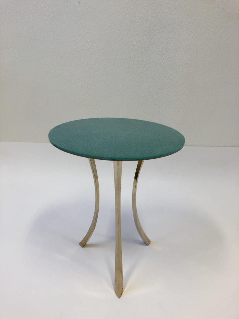 Bronze and Glass Tri-Pod Occasional Table 8