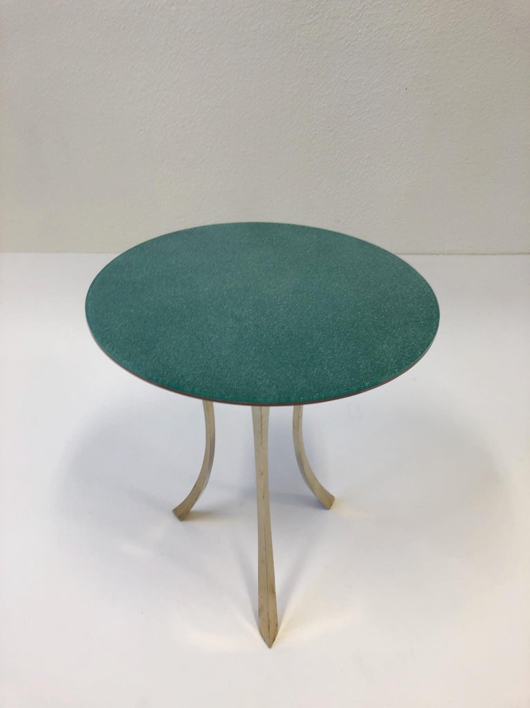 Bronze and Glass Tri-Pod Occasional Table 9