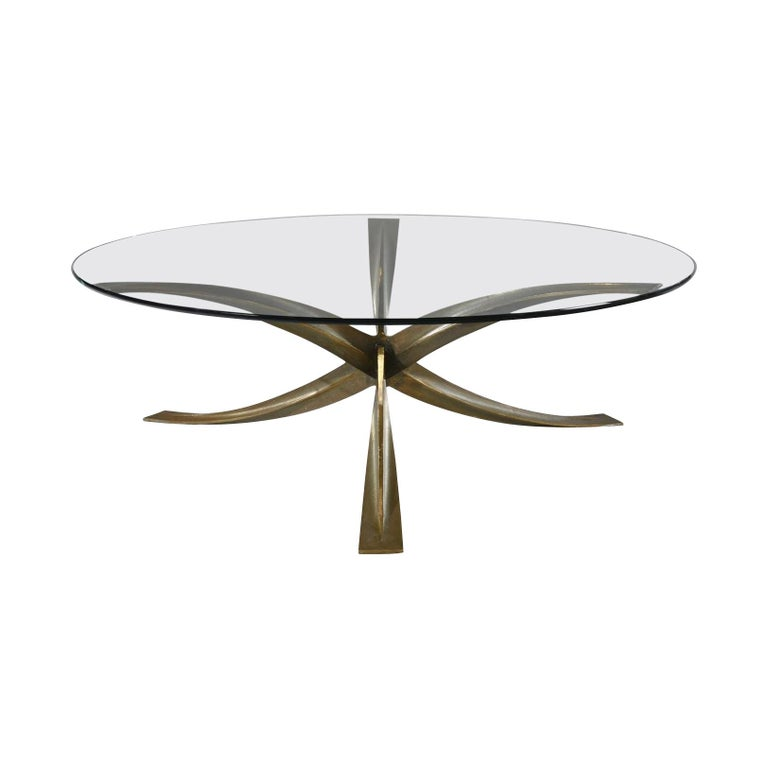 Bronze And Glass Coffee Table By Michel Mangematin At 1stdibs
