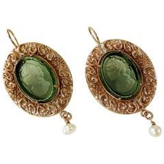 Bronze and Green Engraved Murano Glass Earrings by Patrizia Daliana