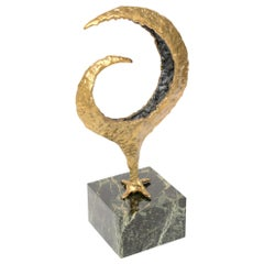 Bronze and Green Marble Signed Gerber Abstract Sculpture Vintage