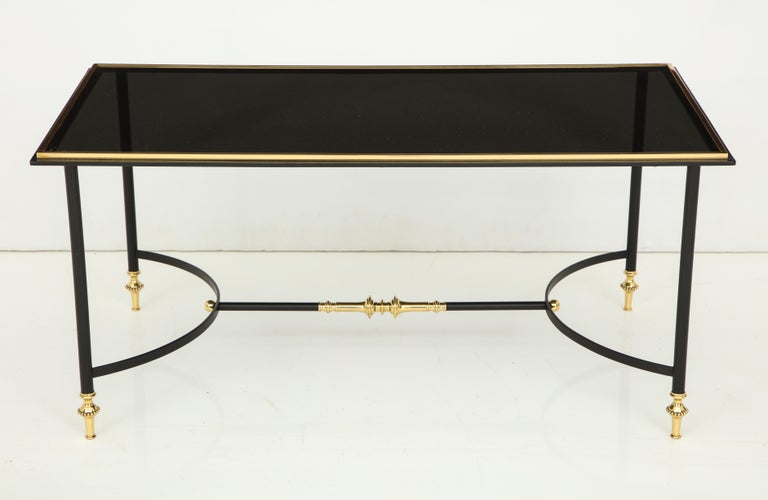 Bronze and Iron Coffee Table with Black Glass Top For Sale 7