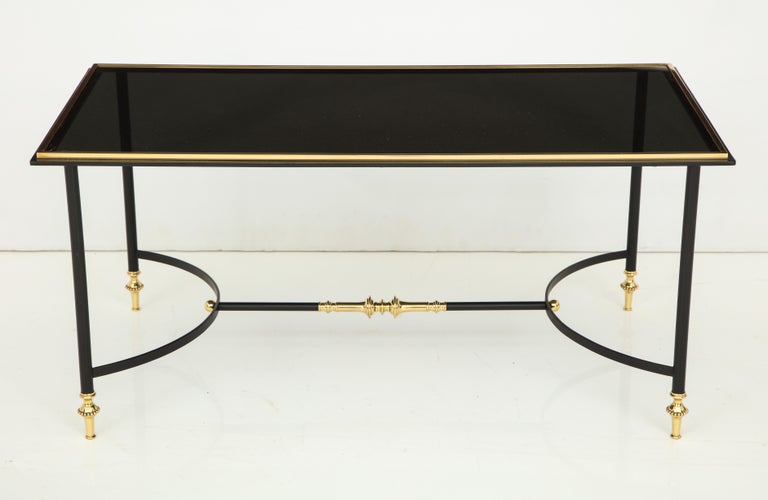 Bronze and Iron Coffee Table with Black Glass Top In Good Condition For Sale In Mt. Kisco, NY