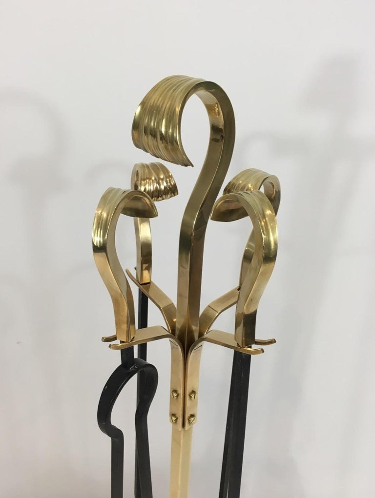 Bronze and Iron Fire Place Tools, French, circa 1970 For Sale 7
