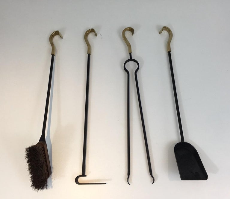 Bronze and Iron Fire Place Tools, French, circa 1970 For Sale 13