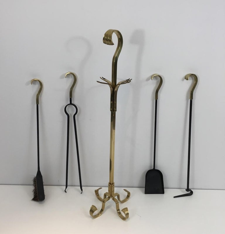 Bronze and iron fire place tools, French, circa 1970.