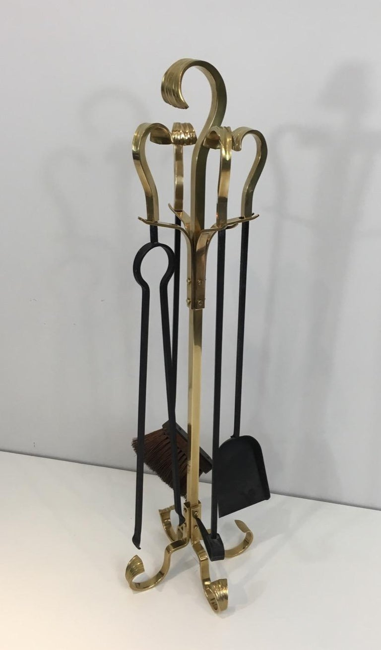 Bronze and Iron Fire Place Tools, French, circa 1970 For Sale 14