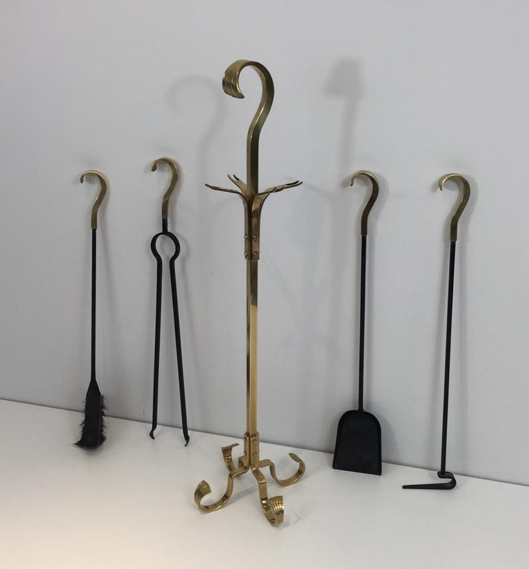 Mid-Century Modern Bronze and Iron Fire Place Tools, French, circa 1970 For Sale