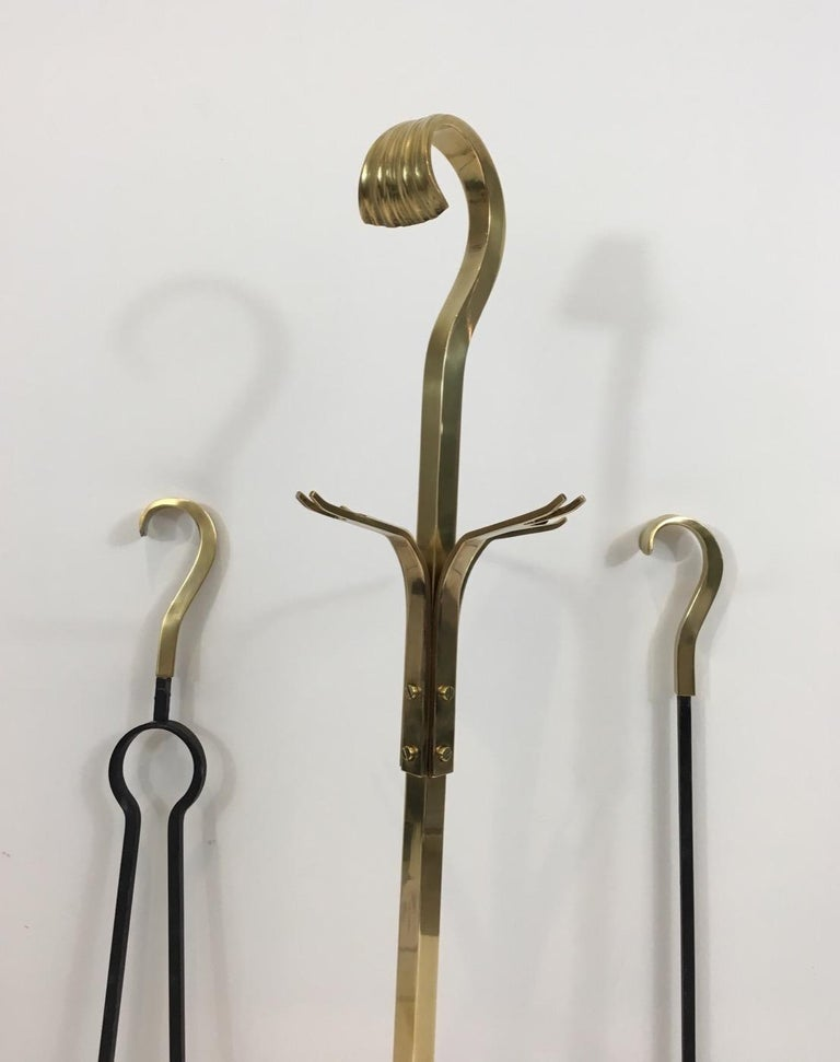 Late 20th Century Bronze and Iron Fire Place Tools, French, circa 1970 For Sale