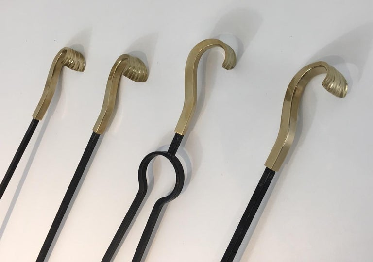 Bronze and Iron Fire Place Tools, French, circa 1970 For Sale 3