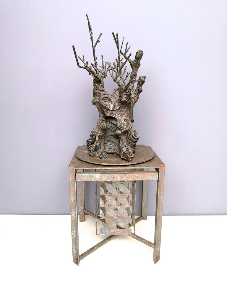 Italian Bronze and Iron Revolving Tree Sculpture, Anonymous, Italy, 1980s For Sale