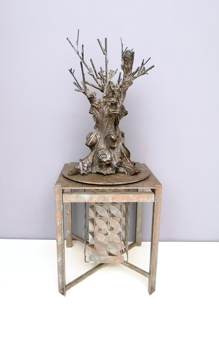 Varnished Bronze and Iron Revolving Tree Sculpture, Anonymous, Italy, 1980s For Sale
