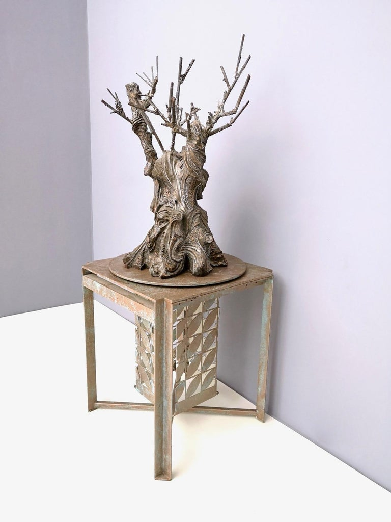 Bronze and Iron Revolving Tree Sculpture, Anonymous, Italy, 1980s In Excellent Condition For Sale In Bresso, Lombardy