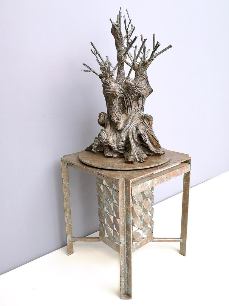 Late 20th Century Bronze and Iron Revolving Tree Sculpture, Anonymous, Italy, 1980s For Sale