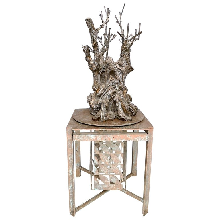 Bronze and Iron Revolving Tree Sculpture, Anonymous, Italy, 1980s For Sale
