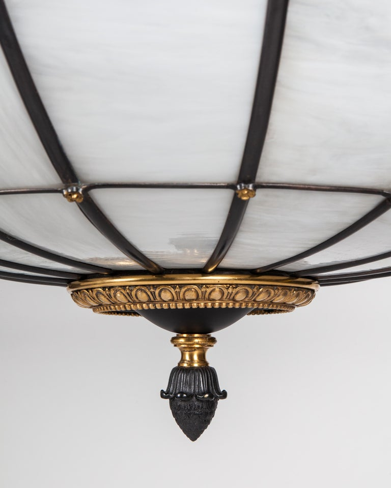 Antique Bronze and Leaded Glass Chandelier, circa 1920 For Sale 3