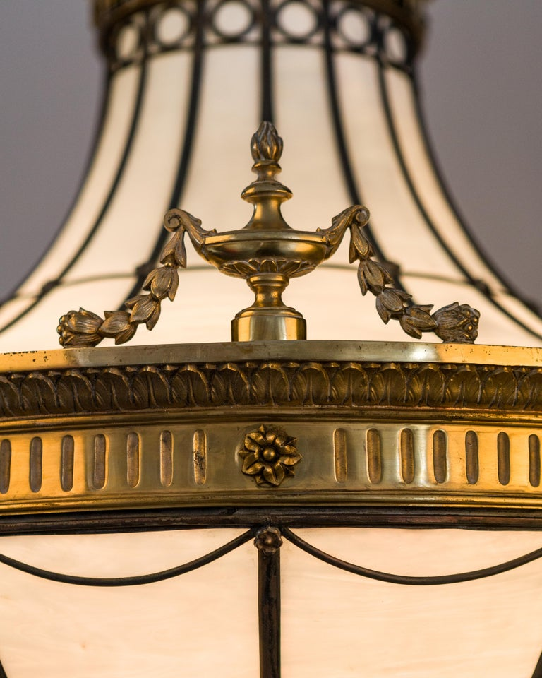 American Antique Bronze and Leaded Glass Chandelier, circa 1920 For Sale