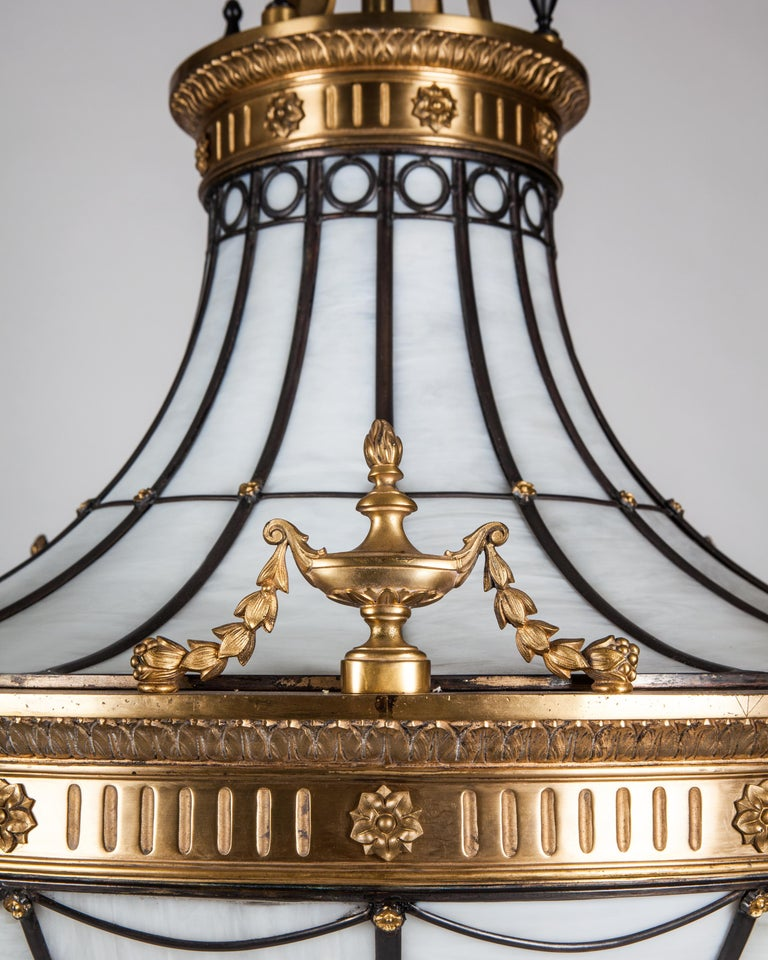Neoclassical Antique Bronze and Leaded Glass Chandelier, circa 1920 For Sale