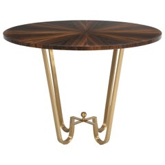 Bronze and Macassar Ebony Center Hall Table, Game or End Table in Any Dimension