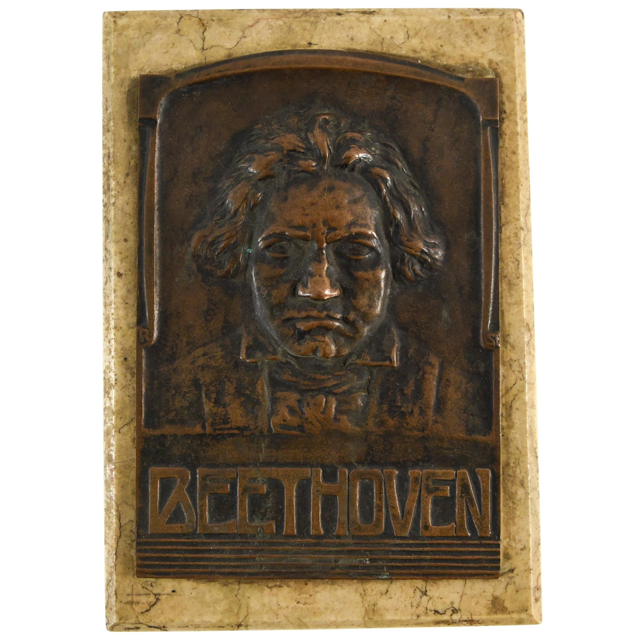 Bronze and Marble Beethoven Plaque