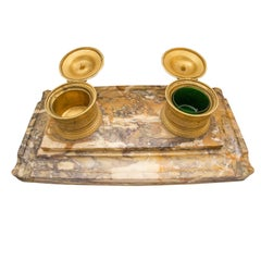 Bronze and Marble Inkwell Charles X, 1810-1820