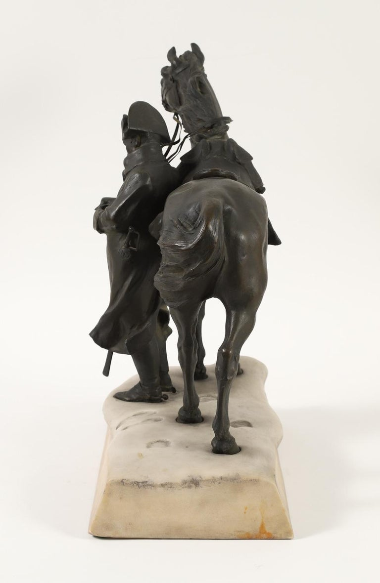 20th Century Bronze and Marble Sculpture of Napoleon and His Horse in Winter For Sale