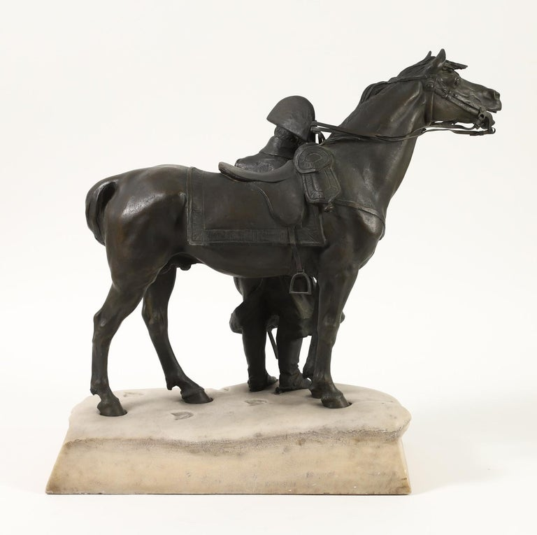 Bronze and Marble Sculpture of Napoleon and His Horse in Winter For Sale 1