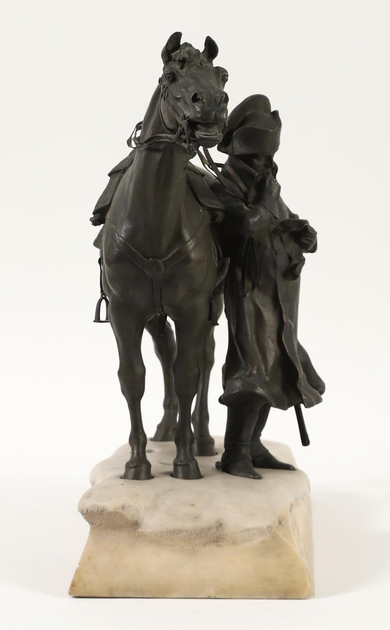 Bronze and Marble Sculpture of Napoleon and His Horse in Winter For Sale 3
