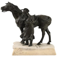 Bronze and Marble Sculpture of Napoleon and His Horse in Winter