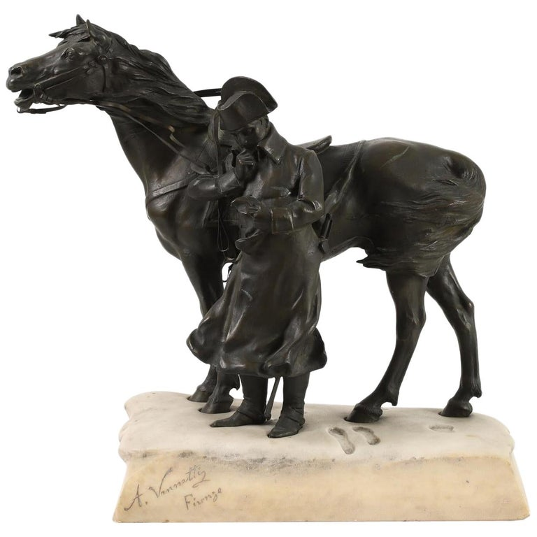Bronze and Marble Sculpture of Napoleon and His Horse in Winter For Sale