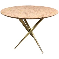 Bronze and Marble-Top Side Table in the Style of Gio Ponti