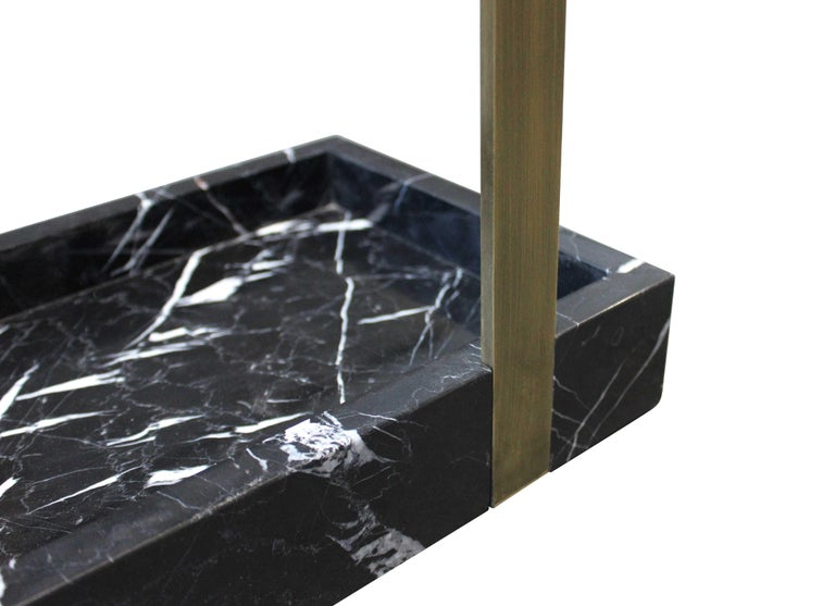 Modern Bronze and Marble Umbrella Stand For Sale