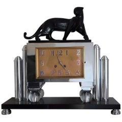 Bronze and Metal Art Deco Clock