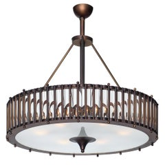 Bronze and Murano Glass Tube Chandelier
