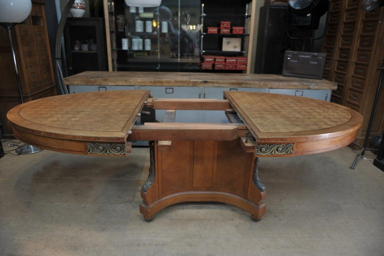 Bronze and Oak Marqueterie Expandable Dining Table Louis XVI Style, circa 1920 For Sale 4